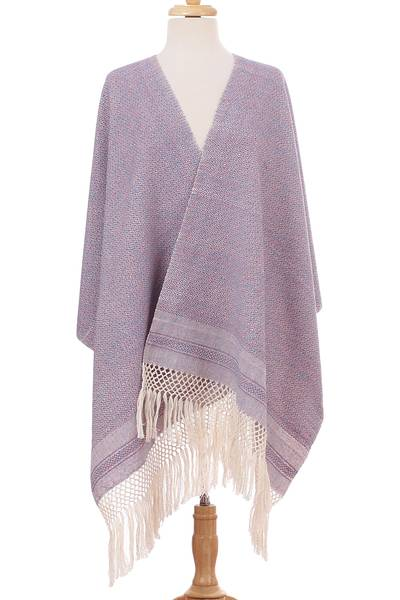 Cotton rebozo, 'Berry Combination' - Ivory Diamond Motif on Pink-Blue Handwoven Cotton Rebozo