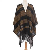Cotton rebozo, 'Regal Night' - Black and Gold Multiple Motif Handwoven Cotton Rebozo