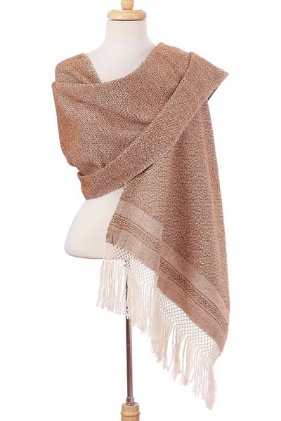 Cotton rebozo, 'Earth Hues' - Ivory Diamond Motif on Red-Brown Handwoven Cotton Rebozo