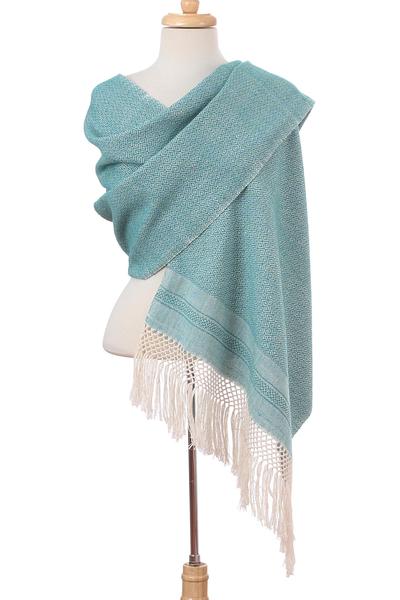 Cotton rebozo, 'Sea Sky' - Ivory Diamond Motif on Blue-Green Handwoven Cotton Rebozo