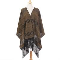 Cotton rebozo, 'Antique Crown' - Gold Black Elongated Diamond Motif Handwoven Cotton Rebozo