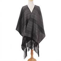 Cotton rebozo, 'Antique Coins' - Grey Black Elongated Diamond Motif Handwoven Cotton Rebozo