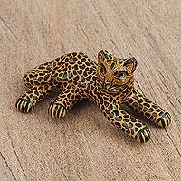 Ceramic figurine, 'Relaxed Jaguar' - Handcrafted Amber and Black Relaxed Jaguar Ceramic Figurine