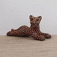 Ceramic figurine, 'Alert Jaguar' - Handcrafted Orange and Black Alert Jaguar Ceramic Figurine