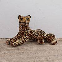 Ceramic figurine, 'Poised Jaguar' - Handcrafted Yellow and Black Relaxed Jaguar Ceramic Figurine
