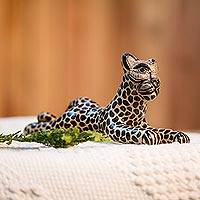 Ceramic figurine, 'Attentive Jaguar' - Handcrafted Beige and Black Alert Jaguar Ceramic Figurine