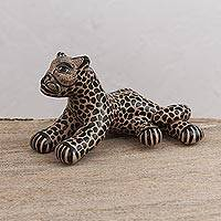 Ceramic figurine, 'Vigilant Jaguar' - Handcrafted Beige and Black Watchful Jaguar Ceramic Figurine