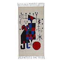 Wool area rug, 'Mid-Century Art' (3x5) - Red Blue Abstract Mid-Century Modern Handwoven Wool Area Rug