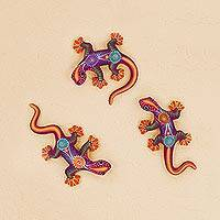 Ceramic wall art, 'Salamanders' (set of 3) - Colorful Floral Motif Ceramic Salamander Wall Art (Set of 3)