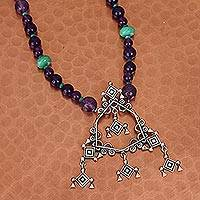 Agate beaded pendant necklace, 'Huichol Rhombus' - Green and Purple Agate Beaded Pendant Necklace from Mexico