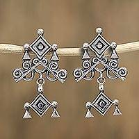 Sterling silver dangle earrings, 'Rhombus Eye' - Sterling Silver Ojo de Dios Earrings from Mexico