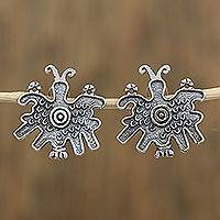 Sterling silver button earrings, 'Pre-Hispanic Butterflies' - Pre-Hispanic Butterfly Sterling Silver Button Earrings