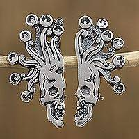 Sterling silver drop earrings, 'Miquiztli' - Sterling Silver Aztec God of Death Drop Earrings