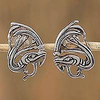 Sterling silver button earrings, 'Kukulkan' - Sterling Silver Kukulkan Button Earrings from Mexico