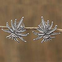 Sterling silver button earrings, 'Agave Tequilana' - Sterling Silver Agave Plant Button Earrings from Mexico