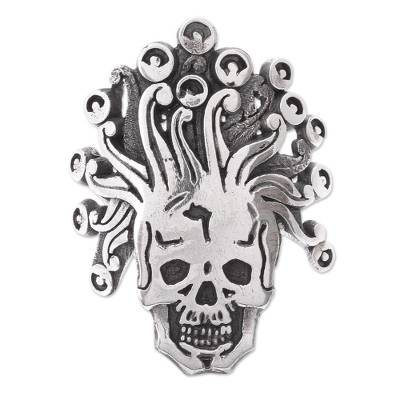 Aztec God of Death Sterling Silver Wrap Ring from Mexico