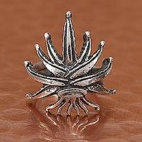 Sterling silver wrap ring, 'Agave Tequilana' - Sterling Silver Agave Plant Wrap Ring from Mexico