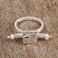 Cultured pearl cocktail ring, 'Face Time' - Cultured Pearl Sterling Silver Modern Faces Cocktail Ring