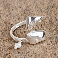 Cultured pearl wrap ring, 'Modern Faces' - Cultured Pearl and Sterling Silver Double Face Wrap Ring