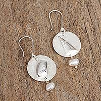 Cultured pearl dangle earrings, 'Modern Profile' - Cultured Pearl and Sterling Silver Circle Dangle Earrings