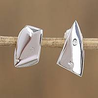 Sterling silver button earrings, 'Unique Faces' - Modern Sterling Silver Differing Angular Faces Earrings