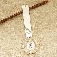 Cultured pearl pendant, 'Favorite Face' - Cultured Pearl and Sterling Silver Face Modern Pendant
