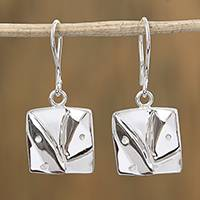 Sterling silver dangle earrings, 'Conversations' - Square Abstract Modern Face Sterling Silver Dangle Earrings