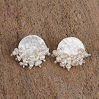 Cultured pearl button earrings, 'Pearlescent Moon' - Cultured Pearl and Sterling Silver Disc Button Earrings
