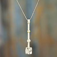 Cultured pearl pendant necklace, 'Luminous Totems' - Cultured Pearl and Sterling Silver Bar Pendant Necklace