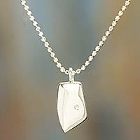 Sterling silver pendant necklace, 'Abstract Portrait' - Sterling Silver Modern Abstract Face Pendant Necklace