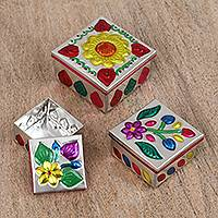 Steel decorative boxes, 'Flower Dance' (set of 3) - Three Steel Decorative Boxes with Floral Motifs from Mexico