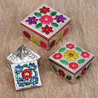 Steel decorative boxes, 'Floral Perfection' (set of 3) - Three Embossed Steel Decorative Boxes with Floral Motifs