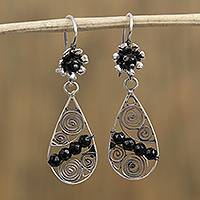 Sterling silver filigree dangle earrings, 'Crystal Raindrops' - Black Bead and Sterling Silver Teardrop Dangle Earrings