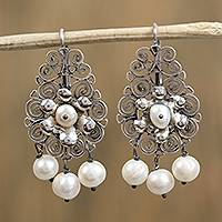 Cultured pearl filigree dangle earrings, 'Floral Candelabra' - Cultured Pearl and Sterling Silver Scroll Dangle Earrings