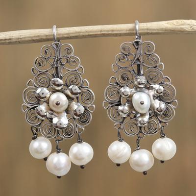 Novica Cultured pearl filigree dangle earrings, Colonial Antique