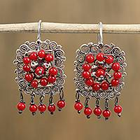 Sterling silver dangle earrings, 'Framed Roses' - Red Bead and Sterling Silver Scrollwork Dangle Earrings