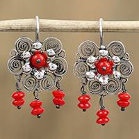 Sterling silver filigree chandelier earrings, 'Ornate Blooms in Red' - Red Bead and Sterling Silver Flower Chandelier Earrings