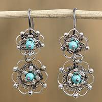 Turquoise dangle earrings, 'Nested Flowers' - Turquoise and Sterling Silver Scrolls Floral Dangle Earrings