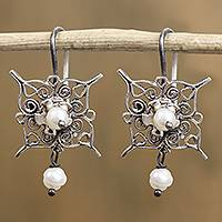 Cultured pearl filigree dangle earrings, 'Petal Points' - Cultured Pearl and Sterling Silver Filigree Dangle Earrings