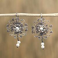Cultured pearl dangle earrings, 'Scrollwork Garden' - Cultured Pearl and Sterling Silver Circle Dangle Earrings