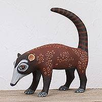 Wood alebrije figurine, 'Coati' - Handcrafted Brown and Grey Coati Wood Alebrije Figurine