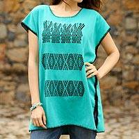 Cotton blouse, 'Turquoise Farm' - Embroidered Cotton Blouse in Turquoise from Mexico