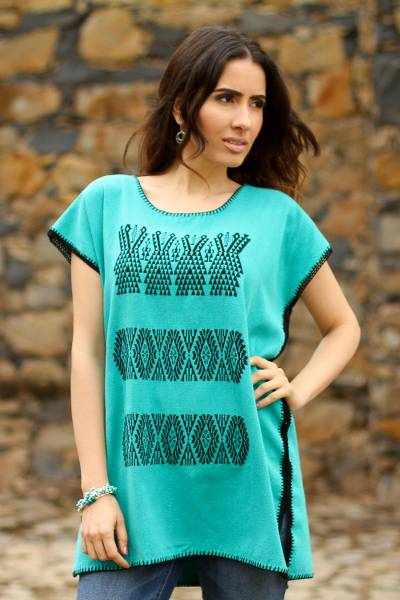 Handwoven embroidered cotton blouse, 'Turquoise Farm' - Embroidered Cotton Blouse in Turquoise from Mexico