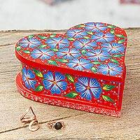 Wood decorative box, 'Heartfelt Flowers' - Heart-Shaped Floral Wood Decorative Box from Mexico
