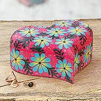 Wood decorative box, 'Heart Compartments' - Hand-Painted Floral Heart Shaped Box from Mexico