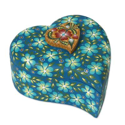 Floral Motif Hear-Shaped Wood Decorative Box from Mexico