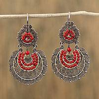 Sterling silver filigree dangle earrings, 'Antique Scarlet' - Sterling Silver Filigree Dangle Earrings from Mexico