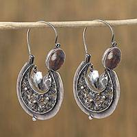 Sterling silver filigree hoop earrings, 'Antique Crescents' - Sterling Silver Filigree Hoop Earrings from Mexico