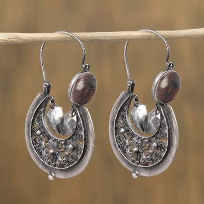 Sterling Silver Filigree Hoop Earrings Antique Crescents