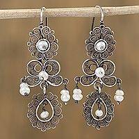 Cultured pearl filigree dangle earrings,